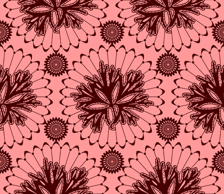 textile image: seamless pattern of claret red lace on a pink background