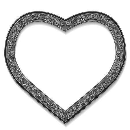 shiny hearts: frame silver color with shadow on white background