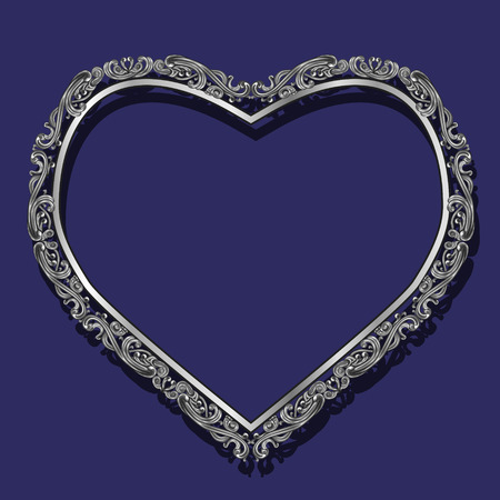 shiny hearts: frame in the shape of heart silver color with shadow on blue background