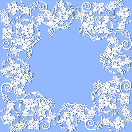 white lace frame with grapes on a blue background Illustration