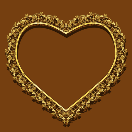 shiny hearts: Frame gold color with shadow on brown background Illustration