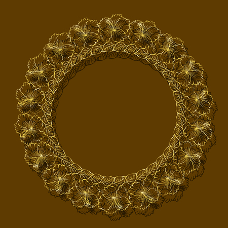 Frame gold color with shadow on brown background.