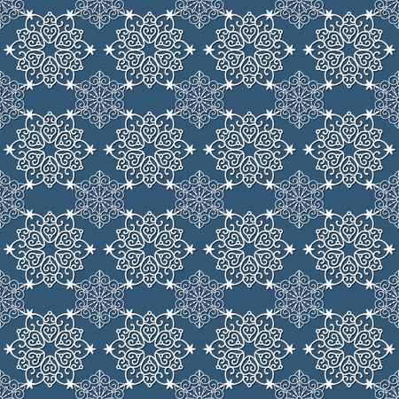 seamless pattern with white snowflakes on a blue background  イラスト・ベクター素材