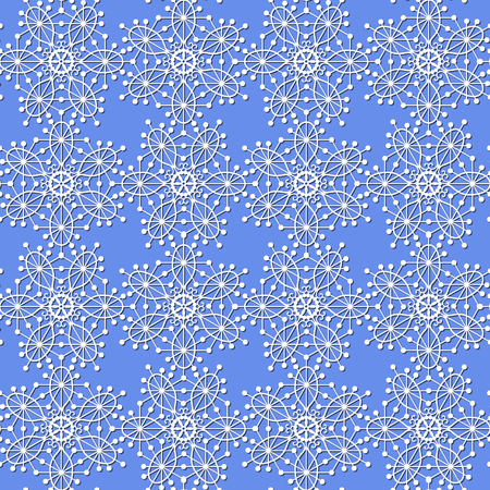 Borderless  pattern with white snowflakes on a blue background.