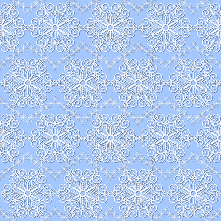 seamless pattern with white snowflakes on a blue background Illustration