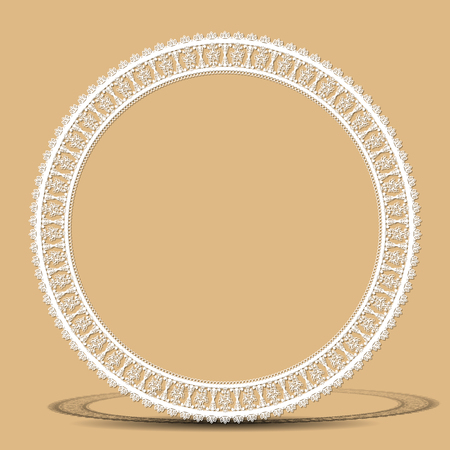 carved vintage frame made of paper for picture or photo with shadow on gray background Illustration