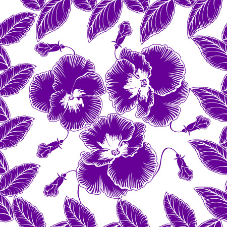 Seamless pattern with flowers violets on a white background  イラスト・ベクター素材