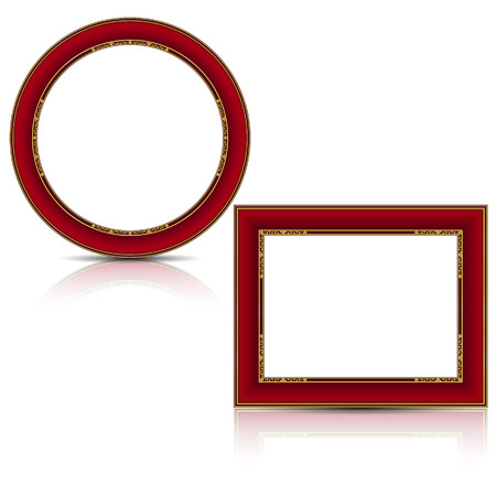 frames ruby and gold color with shadow on white background Ilustração