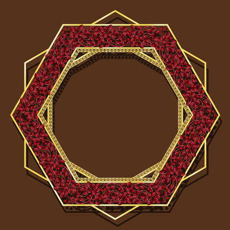 Frame ruby color with shadow on a brown background Illustration