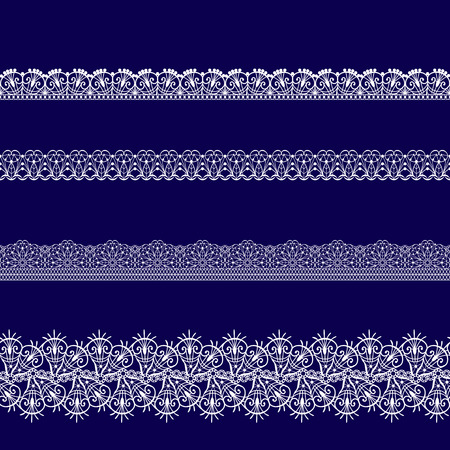 A set of white lace ribbons on a blue background