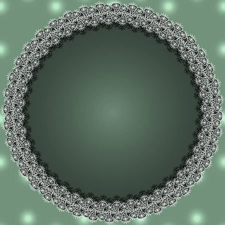 Round white lace frame with shadow on a green background.