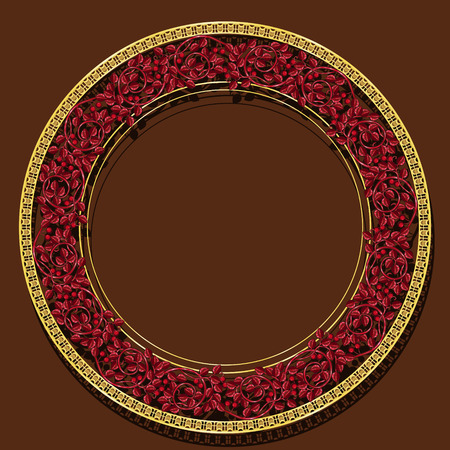 round frame ruby color with shadow on brown background
