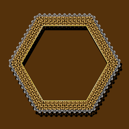 Frame gold color with shadow on brown background Illustration