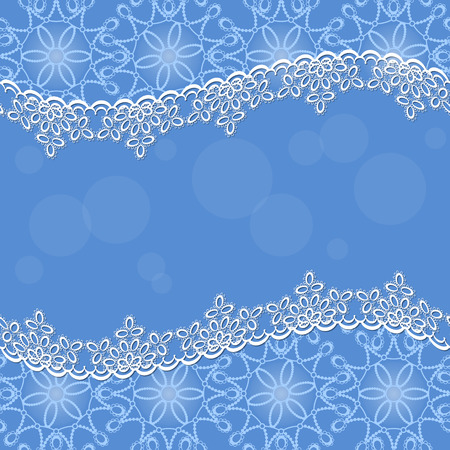 white lace frame with shadow on a blue background Illustration