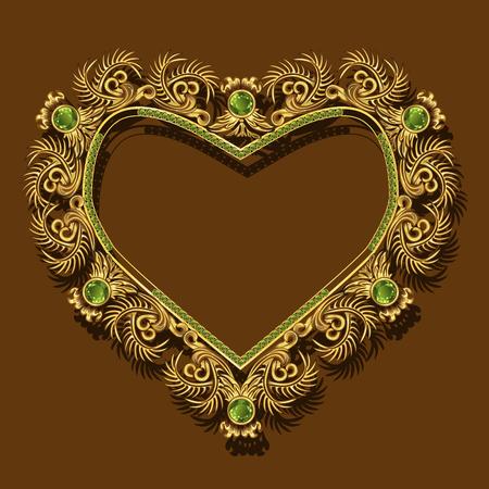 frame gold color with emeralds on brown background Ilustração