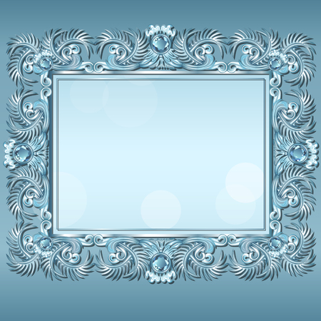carved frame of ice for picture or photo on a blue background