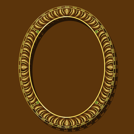 frame gold color with emeralds on brown background