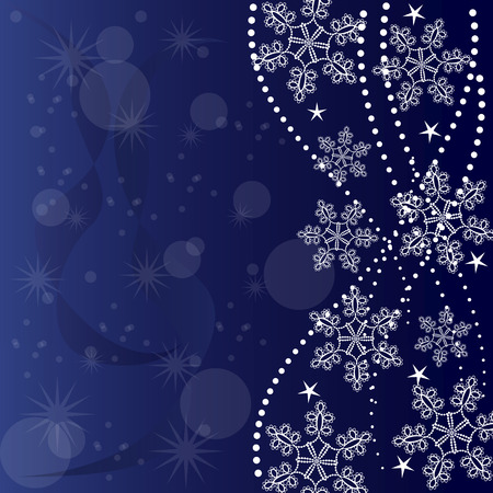 greeting card made from white snowflakes on blue background  イラスト・ベクター素材