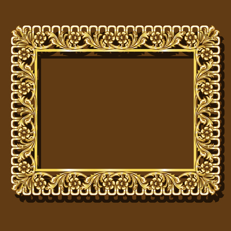frame gold color with shadow on brown background Иллюстрация