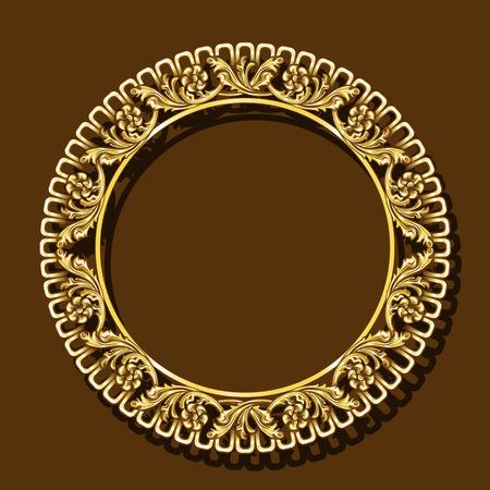 cadre couleur or avec ombre sur fond marron
