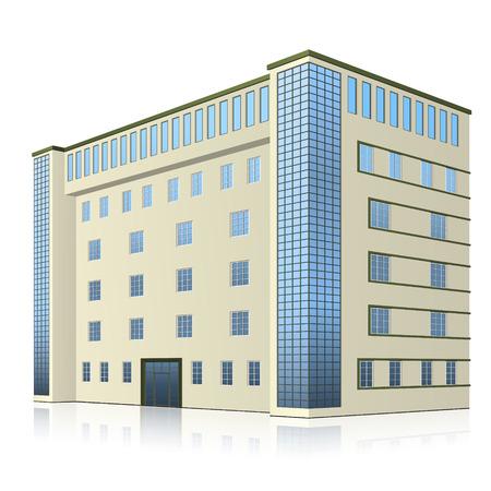 budynek biurowy z wejściem i odbiciem na białym tle