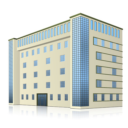 Edificio de oficinas con entrada y reflexión sobre fondo blanco.