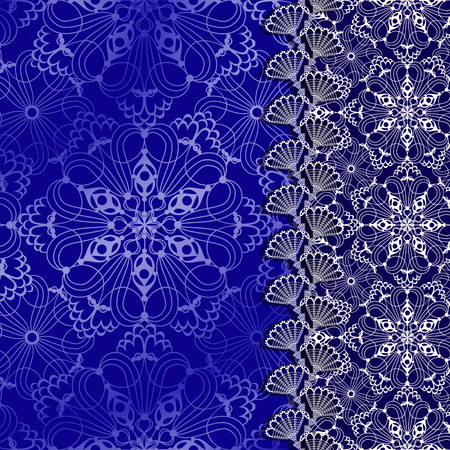 white lace frame with shadow on a blue background Çizim