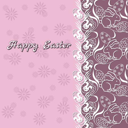 gift card easter bunny and eggs on pink background