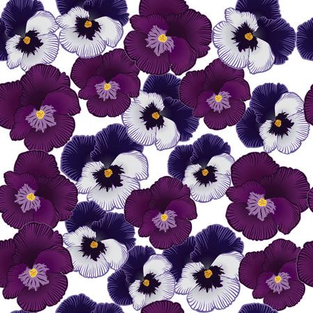 modèle sans couture avec des fleurs violettes sur fond blanc