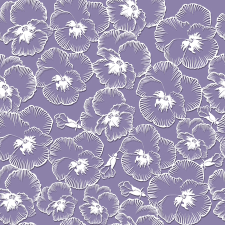 modèle sans couture avec des fleurs violettes sur fond bleu Vecteurs