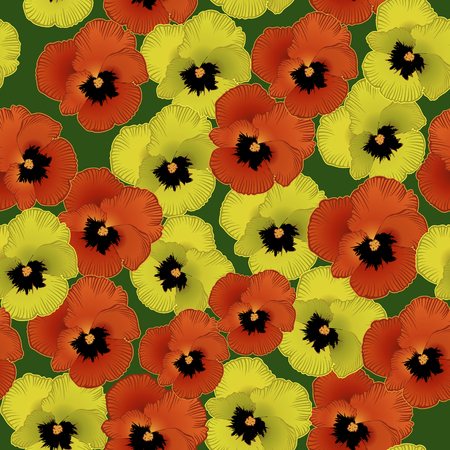 seamless pattern with flowers violets on a green