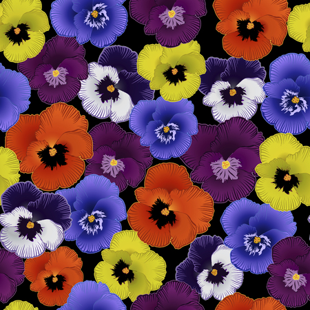 seamless pattern with flowers violets on a black background