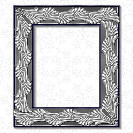 frame silver color with shadow on white background