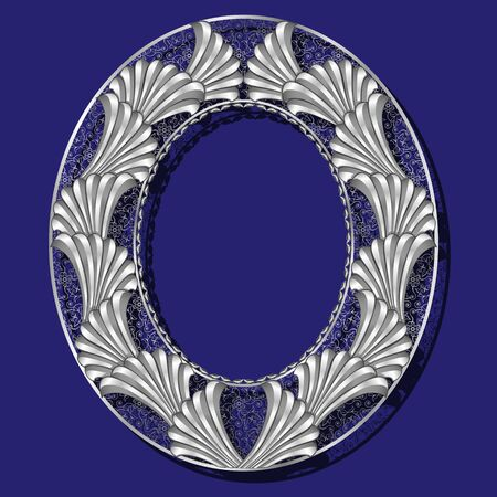 round frame silver color with shadow on blue background