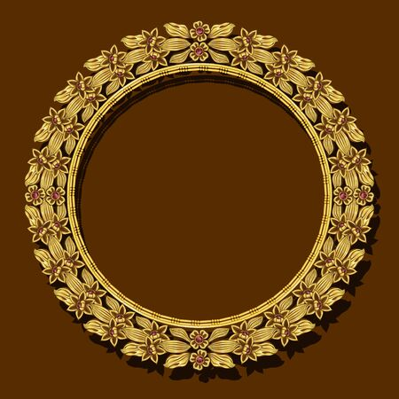 round frame gold color with shadow on brown background