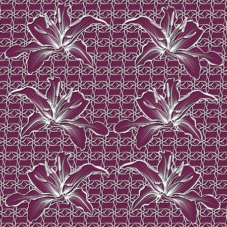 seamless pattern with with lily flowers on a pink background