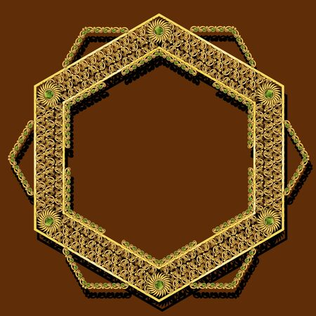 frame gold color with shadow on brown background  イラスト・ベクター素材