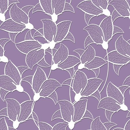 seamless pattern with white flowers on a pink background