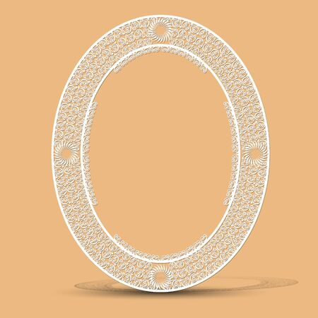 carved vintage frame made of paper for picture or photo with shadow on gray background  イラスト・ベクター素材