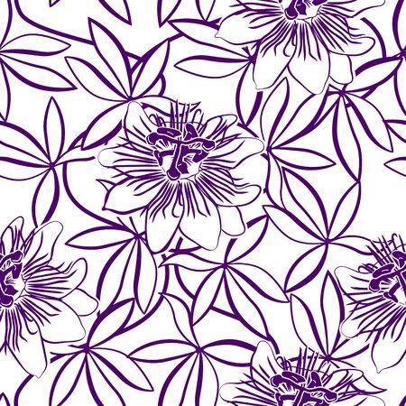 modèle sans couture avec passiflore violet sur fond blanc