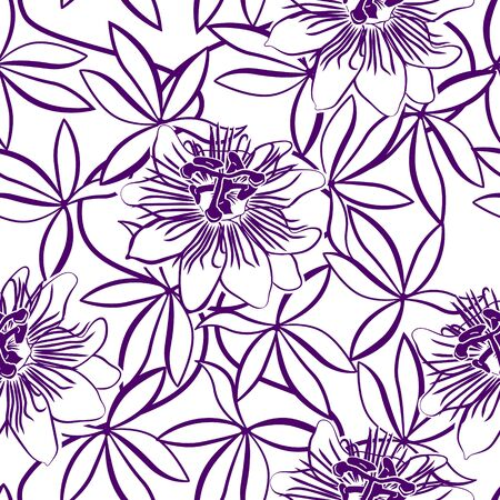 seamless pattern with violet passionflower on a white background