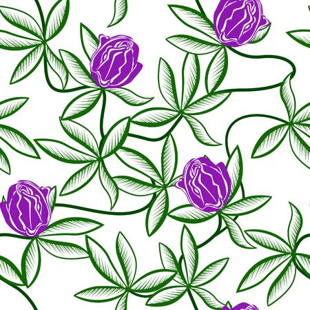 seamless pattern with lilac flowers passionflower on a white background