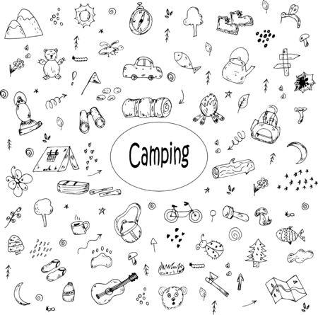 Camping hand-drawn doodles vector icons Vektoros illusztráció