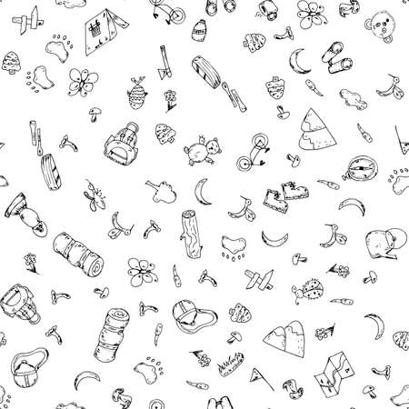 Seamless pattern of hand drawn camping doodles. Line icons