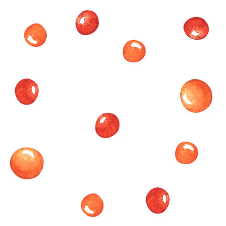 Watercolor orange and red bubbles. Background with aquarelle shapes. 版權商用圖片