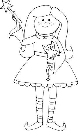 Vector hand drawn doodle enchantress. Halloween girl witch with black cat. Иллюстрация
