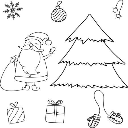 Vector hand drawn doodle. New Year set with Santa Clause, Christmas tree, mittens, gifts, snowflake, balls