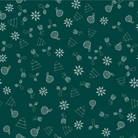 New Year seamless vector pattern with mittens, Christmas ornament, snowflake, rabbit, tree on green background Illusztráció