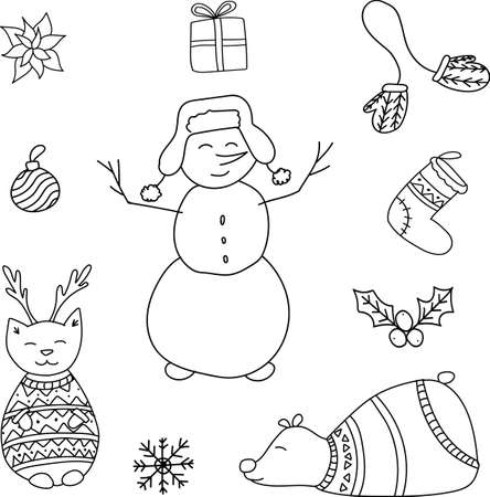 Vector hand drawn doodle. New Year set with snowman, cat deer, Christmas ornament, sock, mittens, gifts, snowflake, balls