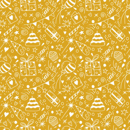 Birthday seamless pattern in vector. Hand drawn doodle background Illustration